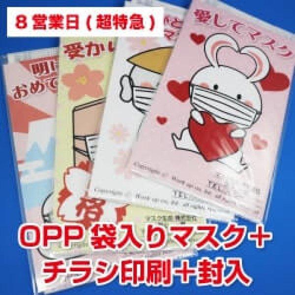 画像1: 【8営業日】OPP袋入り販促マスク(個別包装3層マスク)  +チラシ印刷+封入 (1)