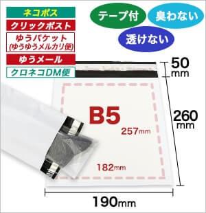 宅配ビニール袋 B5サイズ 白