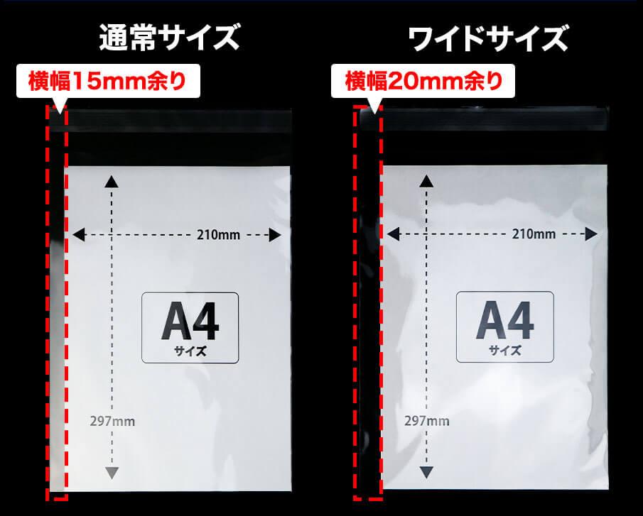 A4標準、ワイド比較