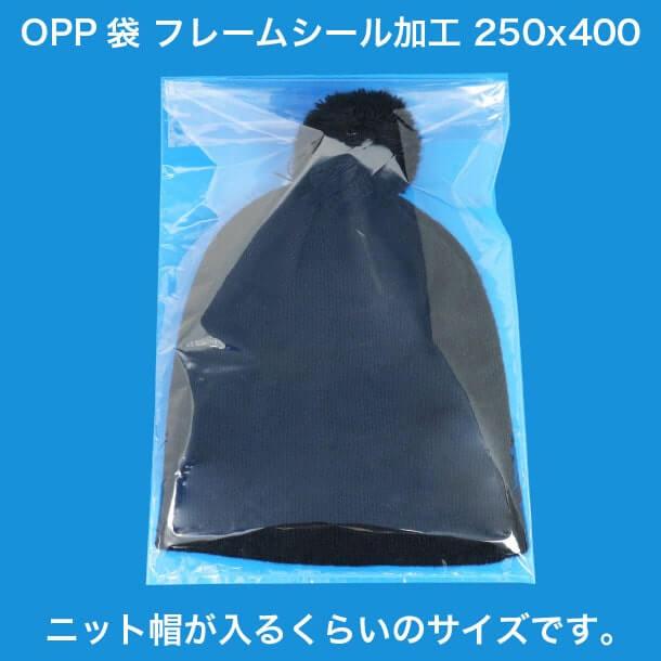 OPP袋フレームシール加工250x400 ニット帽が入るくらいのサイズです。