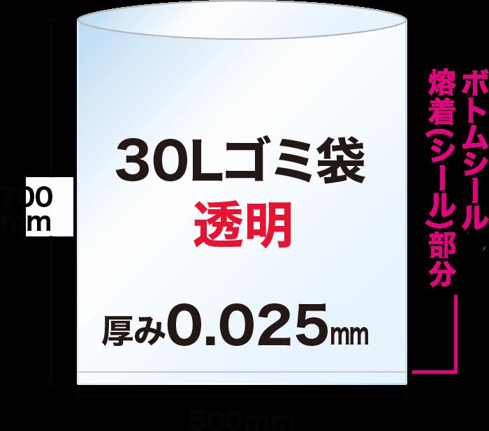 30Lの透明ゴミ袋は、ヨコ50cm×タテ70cmで、袋の底にボトムシール溶着(シール)部分があります。